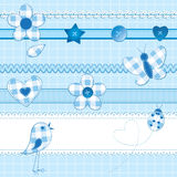 Elementos del libro de recuerdos en azul ilustración del vector