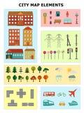 Elementos del mapa de la ciudad Imagenes de archivo