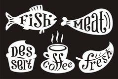 Elementos del menú de Café Fotografía de archivo libre de regalías