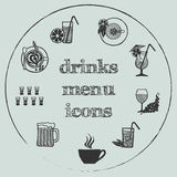 Elementos del menú de las bebidas - los iconos fijaron 3 Fotos de archivo