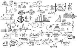 Elementos del negocio de las finanzas del garabato ilustración del vector
