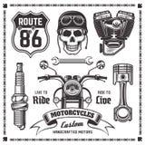 Elementos del negro del vector de las motocicletas y de los motoristas stock de ilustración