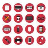 Elementos del ordenador y sistema plano del vector del diseño de los iconos Foto de archivo