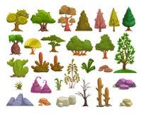 Elementos del paisaje de la naturaleza de la historieta libre illustration