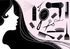 Elementos del peinado para el salón con la cara. Silh del vector Imagenes de archivo