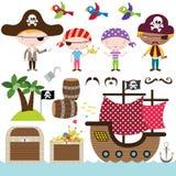 Elementos del pirata Imágenes de archivo libres de regalías