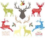 Elementos del reno de la Navidad stock de ilustración