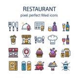 Elementos del restaurante: Iconos del esquema, pictograma y colección del símbolo ilustración del vector