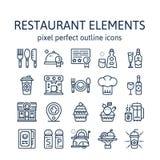 Elementos del restaurante: Iconos del esquema, pictograma y colección del símbolo foto de archivo