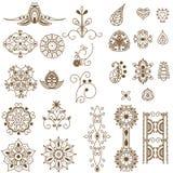 Elementos del tatoo de la alheña ilustración del vector