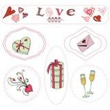 Elementos del tema del día de tarjeta del día de San Valentín Objetos exhaustos y coloreados de la mano en marco ilustración del vector