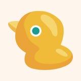 Elementos del tema del pato del juguete del bebé Imagen de archivo