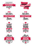 Elementos del texto del día de madres Imagen de archivo libre de regalías