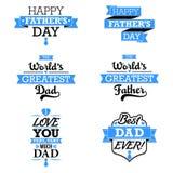 Elementos del texto del día de padre stock de ilustración