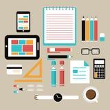 Elementos del trabajo de la oficina y del negocio Imagen de archivo