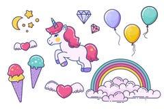Elementos del unicornio y de la hada aislados en blanco ilustración del vector