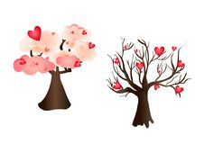 Elementos del vector del amor del árbol de las tarjetas del día de San Valentín imagen de archivo libre de regalías