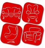 Elementos del vector de los muebles Fotografía de archivo libre de regalías
