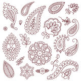 Elementos del vector del garabato del tatuaje de la alheña en el fondo blanco Imagen de archivo