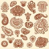 Elementos del vector del garabato del tatuaje de la alheña en el fondo blanco ilustración del vector