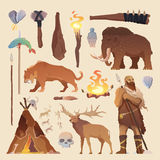 Elementos del vector Hombre primitivo Edad de Piedra Foto de archivo libre de regalías