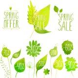 Elementos del verde del vector de la venta de la primavera, etiquetas y Fotos de archivo libres de regalías