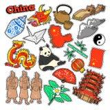 Elementos del viaje de China con arquitectura y la panda Imagenes de archivo