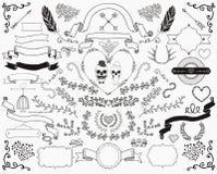 Elementos desenhados à mão do projeto da garatuja Imagens de Stock