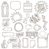 Elementos desenhados mão do projeto