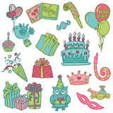 Elementos desenhados mão do projeto da celebração do aniversário Fotografia de Stock Royalty Free