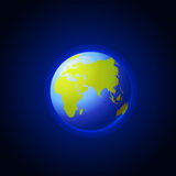 Elementos desta imagem fornecidos pela NASA Ícone do globo Terra com sombras lisas e o mapa verde dos continentes do worl Fotografia de Stock Royalty Free