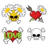 Elementos determinados del amor y de la muerte Cráneo y corazón rojo stock de ilustración