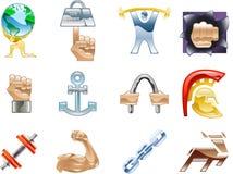 Elementos determinados del diseño de la serie del icono de la fuerza Fotos de archivo libres de regalías