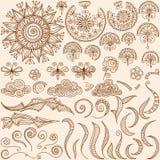 Elementos determinados del diseño del garabato del mehndi de la alheña del vector ilustración del vector