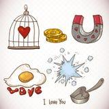 Elementos determinados del garabato del día de tarjetas del día de San Valentín Imagen de archivo libre de regalías