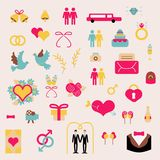 Elementos determinados del vector gay de la boda en estilo plano Fotografía de archivo libre de regalías