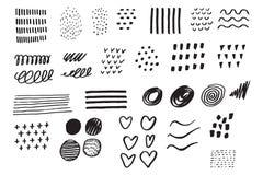 Elementos determinados dibujados mano Garabato del negocio Bosquejo drenado mano sig Imagen de archivo