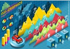 Elementos determinados isométricos de Infographic con la transparencia stock de ilustración