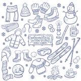 Elementos dibujados mano de la estación del invierno stock de ilustración