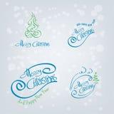 Elementos dibujados mano de la Feliz Navidad Fotos de archivo