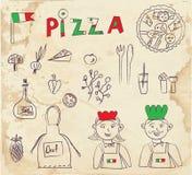 Elementos dibujados mano de la pizza - diseño retro Imagenes de archivo