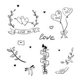 Elementos dibujados mano del amor Imagenes de archivo