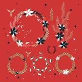 Elementos dibujados mano del diseño de la guirnalda del día de fiesta del Año Nuevo de la Navidad Foto de archivo libre de regalías