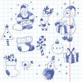 Elementos dibujados mano del diseño de la Navidad Imágenes de archivo libres de regalías