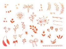 Elementos dibujados mano del diseño del garabato de la acuarela stock de ilustración