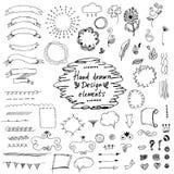 elementos dibujados mano del diseño: ornamentos, florales Vector Fotografía de archivo