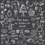 elementos dibujados mano del diseño para el tema de la cocina Vector Imágenes de archivo libres de regalías