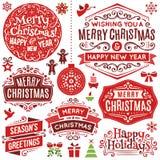 Elementos dibujados mano del diseño de la Navidad Fotografía de archivo