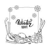 Elementos dibujados mano del equipo de deportes de invierno del vector stock de ilustración