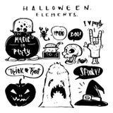 Elementos dibujados mano del feliz Halloween y de la colección de la silueta Foto de archivo